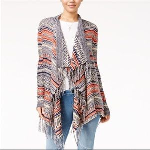 New Almost Famous Cinch Back Cardigan-Navy/Rust-M